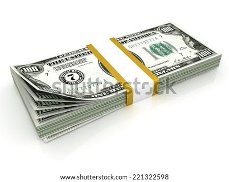 Stack of hundreds dollars isolated on white background - stock photo