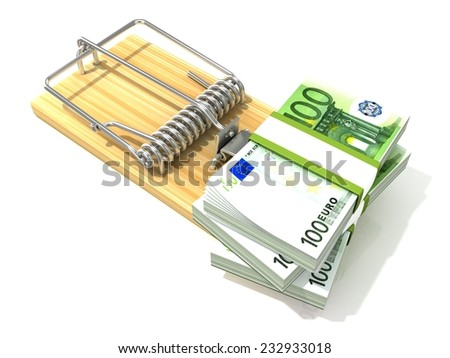 Stack of hundreds euros, like bait, in wooden mousetrap. 3D rendering illustration, isolated on white background.  - stock photo