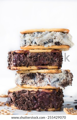 Stack of ice cream sandwiches on white background - stock photo