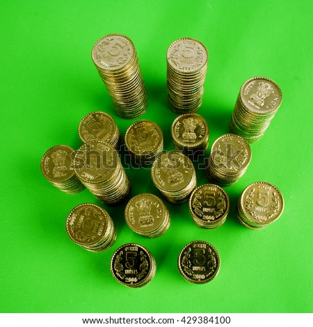 Stack of Indian rupee coins