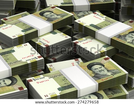 Stack of Iranian Rial - stock photo
