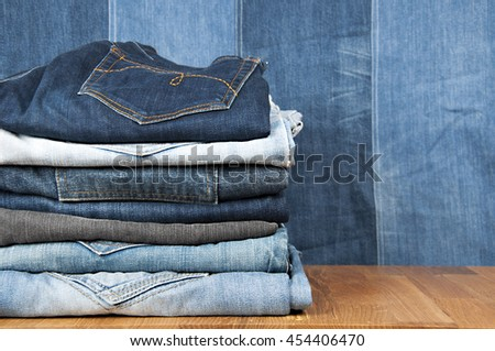 stack of jeans - stock photo