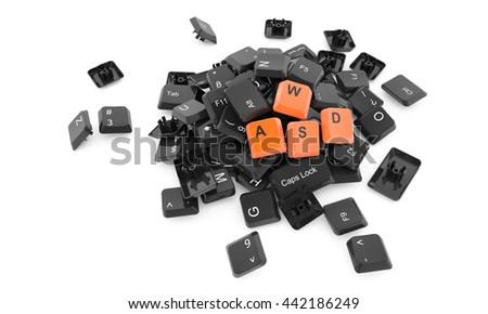 Stack Keyboard Buttons Isolated White Stock Illustration