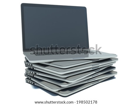 Stack of Laptop on white isolated background