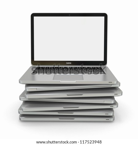 Stack of Laptop on white isolated background. 3d - stock photo