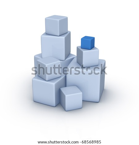 Stack of large and small boxes - stock photo