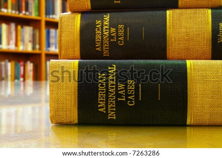 Stack of legal books in a library