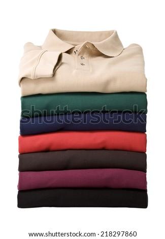 Stack of longsleeve polo-shirts - stock photo