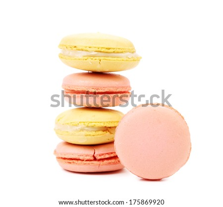Stack of macaron cakes. Isolated on a white background - stock photo