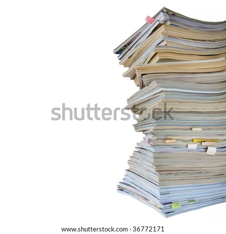stack of  magazines and journals, isolated on white background, free copy space, clipping path - stock photo