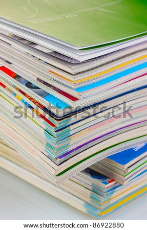 Stack of magazines closeup