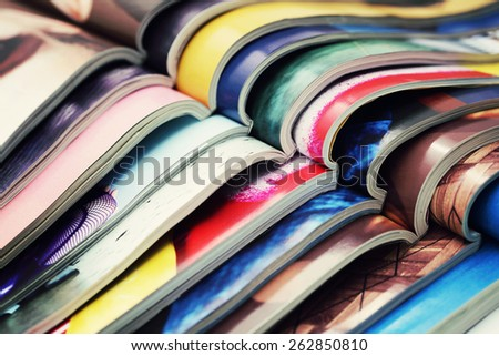 stack of magazines - information - stock photo