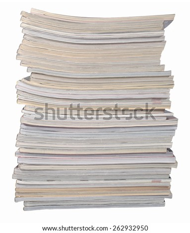 Stack of magazines on a white - stock photo