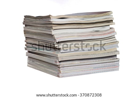 Stack of magazines on a white background - stock photo