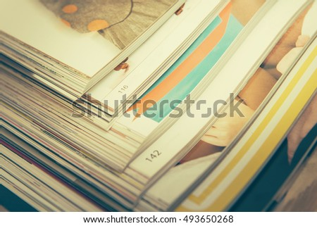 Stack of magazines (vintage toned)