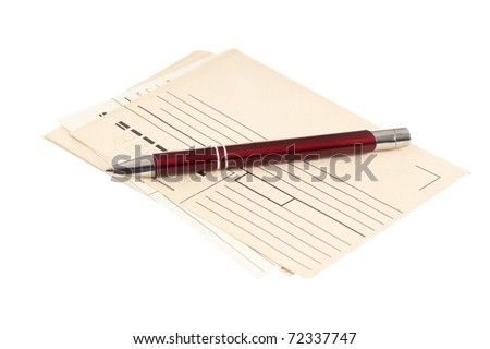 stack of mail envelopes and a pen isolated on white background