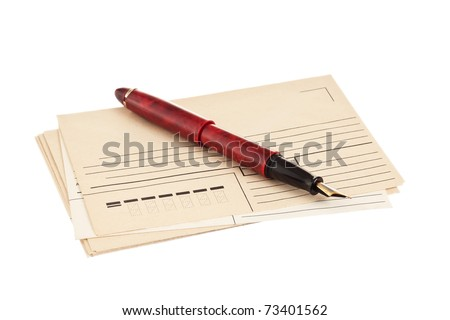 stack of mail envelopes and a pen isolated on white background - stock photo