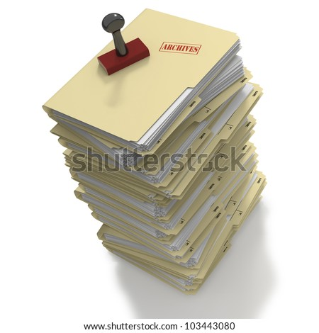 Stack of manila office folders or files stamped as Archives on white background - stock photo