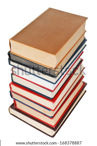 stack of many books isolated on white background
