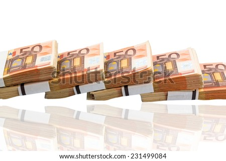 stack of many fifty euro banknotes. photo icon for money, wealth, income and expenditure - stock photo