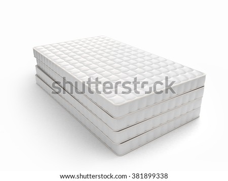 stack of mattresses isolated on white background - stock photo