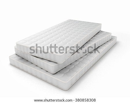 stack of mattresses of various sizes isolated on white background - stock photo