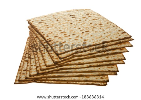 Stack of Matzo traditional Jewish Passover bread - stock photo