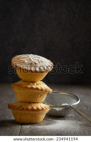 Stack of mince pies for Christmas - stock photo