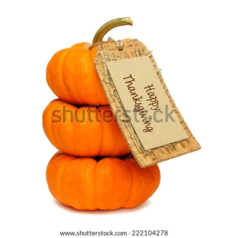 Stack of mini pumpkins with Happy Thanksgiving tag on a white background                  - stock photo