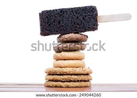 Stack of Mixed cookies isolate on white background - stock photo