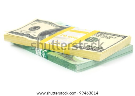 Stack of money- cash of US dollars and euros isolated on white background