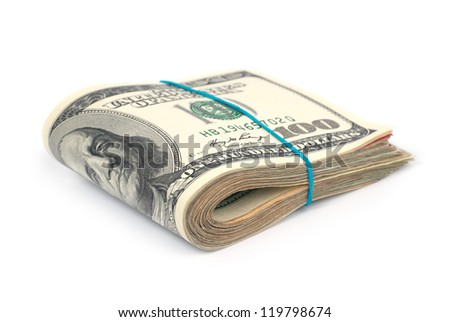 Stack of money- cash of US dollars isolated on white background - stock photo