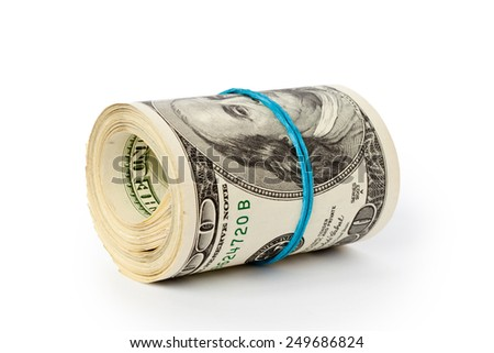 stack of money dollars isolated on white background - stock photo