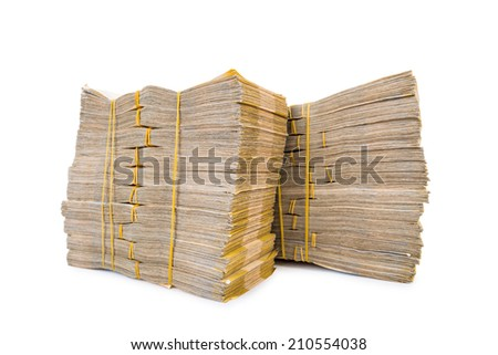 Stack of money isolated on the white - stock photo