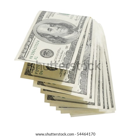 stack of money isolated on white background. - stock photo