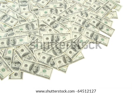 stack of money isolated on white background - stock photo