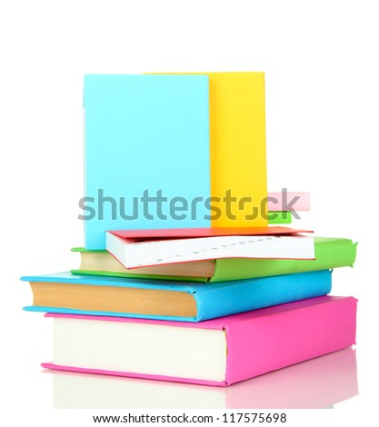 Stack of multicolor books  isolated on white