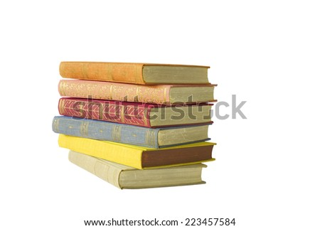 stack of multicolored books, isolated on white, free copy space