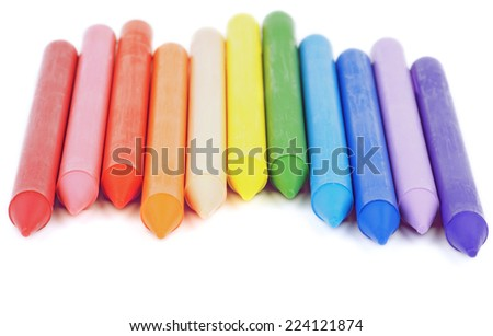 Stack of Multicolored Polymeric Crayons isolated on white background - stock photo