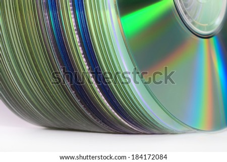 stack of music CDs - stock photo
