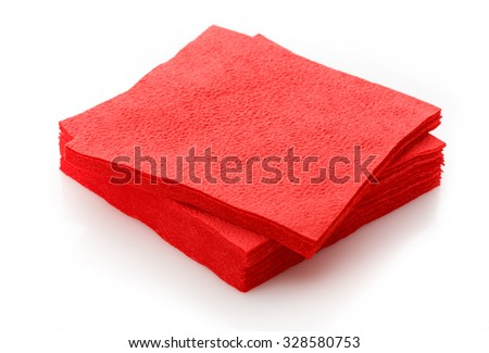 Stack of new disposable paper table napkins