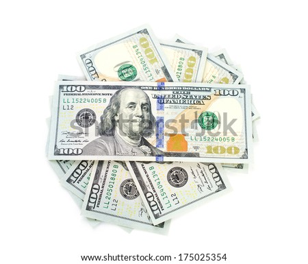 Stack of New One hundred dollars shape circle on white background .  - stock photo