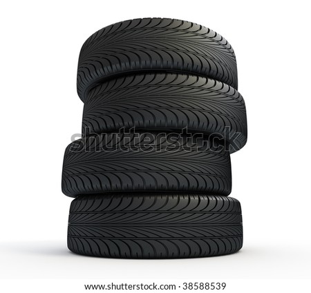 Stack of new tires isolated on white - 3d render - stock photo
