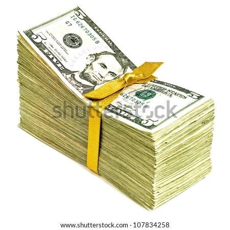 Stack of New United States Currency Tied in a Ribbon - Fives - stock photo
