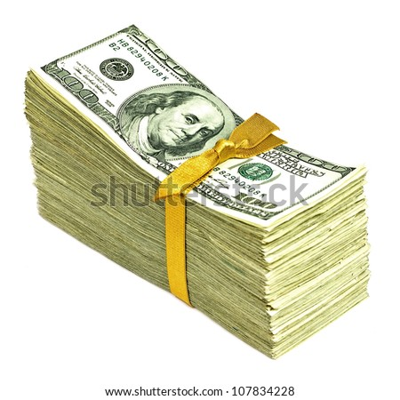 Stack of New United States Currency Tied in a Ribbon - Hundreds - stock photo