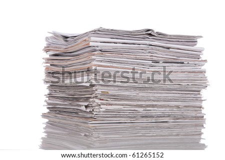 Stack of newspaper isolated on white - stock photo