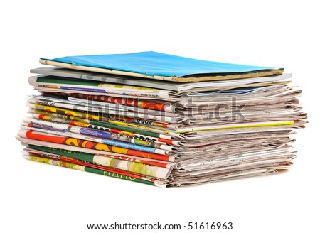 stack of newspaper on white background - stock photo