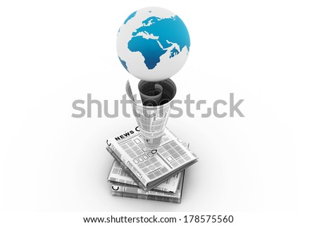 Stack of newspaper with globe - stock photo