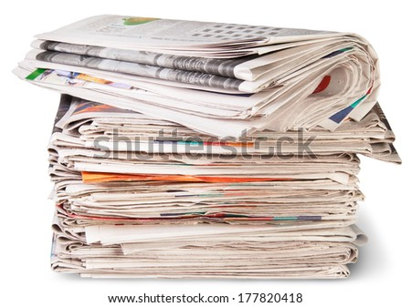 Stack Of Newspapers And The Roll Isolated On White Background - stock photo