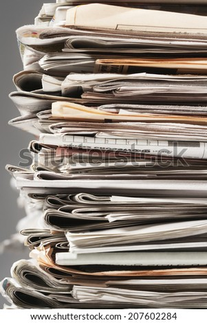 Stack of Newspapers For Recycling - stock photo